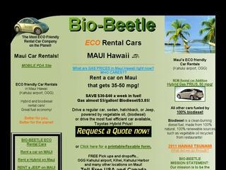 ECO Car rentals, BIO BEETLE ECO rental cars in Maui and Los Angeles